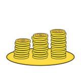 Coins line art 3d. Vector eps 10 Stock Images