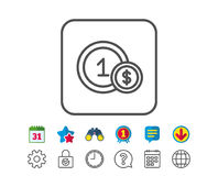 Coins line icon. Money sign. Cash payment. Royalty Free Stock Image