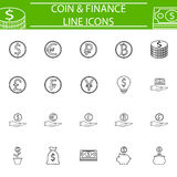 Coins line pictograms package, finance signs Stock Image