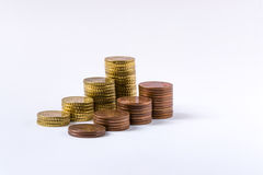 Coins lined up Royalty Free Stock Photography