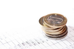 Coins On List Stock Images