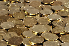 Coins. Lot of coins - metal rubles - is bulk Royalty Free Stock Photo