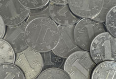 Coins. Lots of coins of chinese yuan Stock Photo