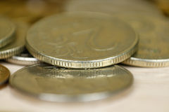 Coins macro shot. Russian coins. Close up.  Royalty Free Stock Photo