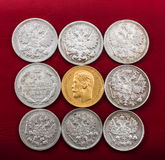Coins made of precious metals Royalty Free Stock Image