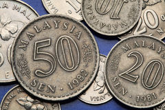 Coins of Malaysia Royalty Free Stock Images