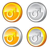 Coins with male sign Stock Images