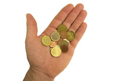 Coins in man hand. Isolated on white Stock Photos