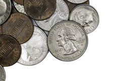 Coins. A many US coins, different value Stock Photography