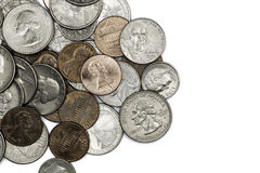 Coins. A many US coins, different value Stock Photos