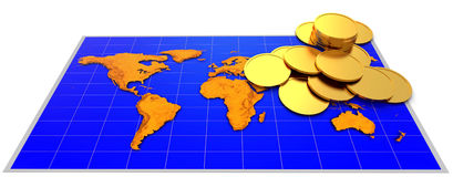 Coins and map Royalty Free Stock Image
