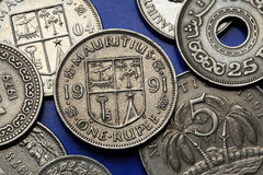 Coins of Mauritius Royalty Free Stock Photos