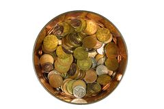 Coins. Metal pot with money on the white background Royalty Free Stock Image
