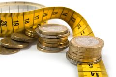 Coins with metre on white. Background Royalty Free Stock Photo