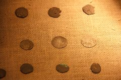 Coins of the Middle Ages. Old coins and money. Numismatics and collecting money. Coins of the Middle Ages. Coins at the booth stock photography