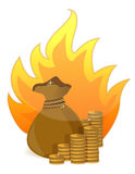 Coins money bag on fire Stock Image