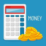 Coins money with calculator. Vector illustration design Royalty Free Stock Image