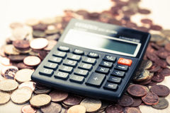 Coins, money, calculator, Euro Stock Photos