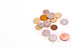 Coins money cash on white background Royalty Free Stock Photo