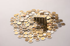 Coins money collect foe save on isolate background. Saving coins money concept.coins money collect foe save on isolate background with copy space Stock Photo