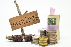 Coins and money with earnings label. Financial concept Stock Image