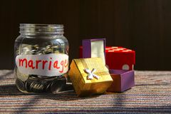 Coins in money jar with marriage label,. Finance concept Royalty Free Stock Photo