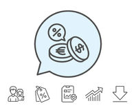 Coins money line icon. Cashback service. Stock Photo