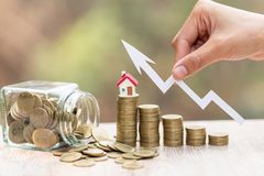 Coins money setting growth up increase to house model for concept investment mortgage finance and home loan business, business,. Innovation, growth and money royalty free stock photos