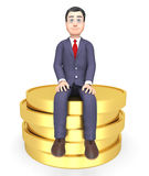 Coins Money Shows Business Person And Commerce 3d Rendering Stock Photos