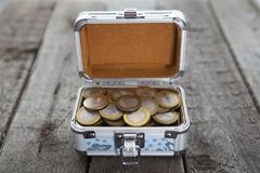 Coins money in small box on table. Ruble. Stock Photography
