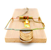 Coins in a mousetrap. Royalty Free Stock Image