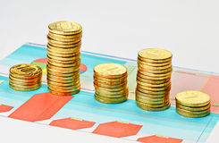 Coins on multi-colored graph. Royalty Free Stock Photography