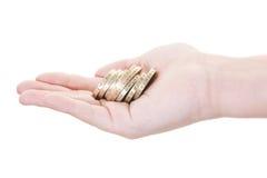 coins näven Royaltyfri Fotografi