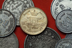 Coins of Nepal. Tal Barahi Temple in Pokhara. Coins of Nepal. Tal Barahi Temple (Lake Temple) in Pokhara, Nepal depicted in the Nepalese one rupee coin Royalty Free Stock Photo