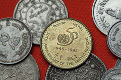 Coins of Nepal. United Nations 50th Anniversary Stock Photos