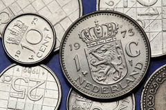 Coins of the Netherlands. Coat of arms of the Netherlands depicted on the Dutch guilder coin