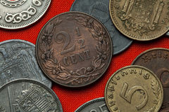 Coins of the Netherlands. Dutch two and a half cent coin (1904 Royalty Free Stock Image