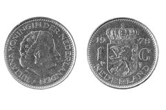 Coins of the Netherlands One Guilder. Royalty Free Stock Photos