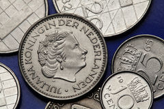 Coins of the Netherlands. Queen Juliana of the Netherlands depicted on the Dutch guilder coins