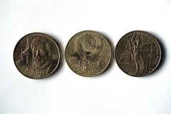 Coins with a nominal value of one ruble Royalty Free Stock Photos