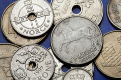 Coins of Norway. Norwegian fjord horse and fowl bird depicted in Norwegian one krone coins stock images