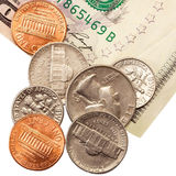 Coins and notes. Royalty Free Stock Image