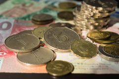 Coins and notes of Hong Kong dollars Royalty Free Stock Images