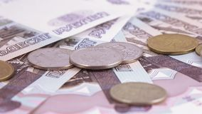 Coins and numbers on rubles stock footage