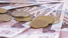 Coins and numbers on rubles stock video