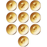 Coins with numerals Royalty Free Stock Photography