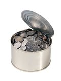 Coins in the open can Stock Images