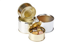 Coins in open tin can Royalty Free Stock Image