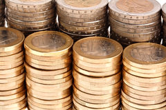 Coins organized in columns and rows, detailed view Stock Images