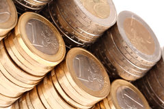 Coins organized in columns and rows isolated Royalty Free Stock Image